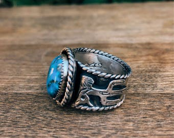 Mens Sterling Silver Turquoise  size 11
