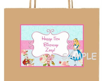18 Alice in WonderLanD inspired party stickers,Birthday favors,goody bag labels,decorations,supplies,custom made