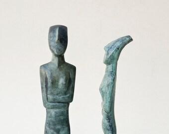 Abstract Bronze Figurine, Metal Art Sculpture, Greek Statue, Museum Quality Art, Geometric Sculpture, Minimalist Cycladic Art, Home Decor