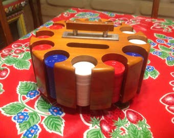 Vintage wooden spinning poker chip wheel with chips and cover- Pla-Wood, Ohio
