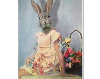Rabbit Print, Rabbit Art Print, Rabbit Bunny Print, Rabbit Art, Bunny Print, Rabbit Wall Art, 8x10,Blue, Wall Decor,Girl, Art Print, Vintage