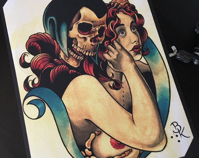 Death and the Maiden Tattoo Art Print