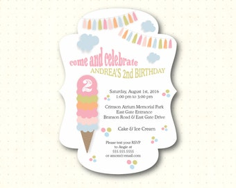 Children's Birthday Party Invitation, die-cut bracket design, 2nd, 3rd, 4th, 5th, ice cream party, kids, boys, girls, printed, K2651