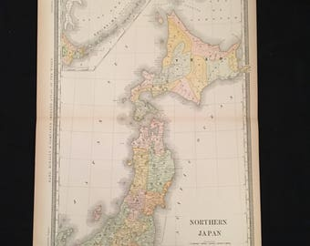 1887 Map of Northern Japan, Original Antique Map, Extra Large Map by Rand McNally, Antique Map for Framing