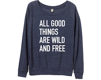Womens Blue Sweater - Quote - Meme - Navy Blue Quote Sweatshirt - Navy Blue -  In Small, Medium, Large, XL