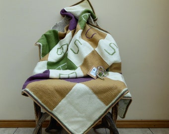 Hand Knit Throw Blanket, Patchwork Afghan, Busy As A Bee Monogram Cream beige green purple Sofa Blanket Unique Home Decor, Bee Keepers Gift