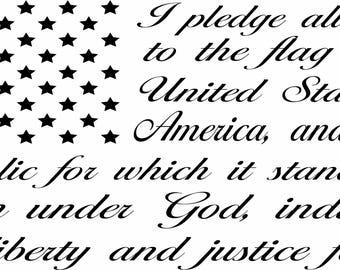 Indoor Wall Vinyl Pledge of Allegiance American Flag car decal