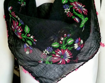 60's Gulsoy Guldeste Designer Scarf, Sheer Black with Gorgeous Flowers and Bright Pink Crochet Trim, Sheer Black Scarf, Flower Scarf