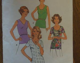 Simplicity 6975, size 12, misses,  tops, blouses, UNCUT sewing pattern