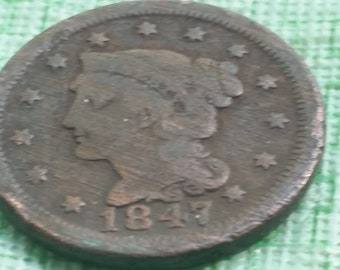 1847 Braided Hair large cent,   #M1125 US coin