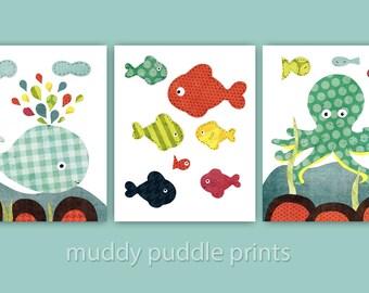 Ocean Nursery Art, Nursery decor, Kids room wall art, Set of 3 prints - Colors of the Sea