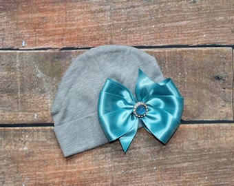 Ready To Ship 6-12 Months Baby Girls Hat With Large Bow & Rhinestone Button Hospital Hat Gift Coming Home