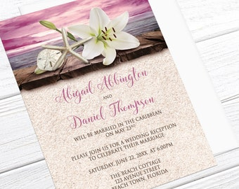 Beach Reception Only Invitations - Lily Seashells Sand Magenta Pink Tropical Destination Wedding, Seaside Reception - Printed Invitations