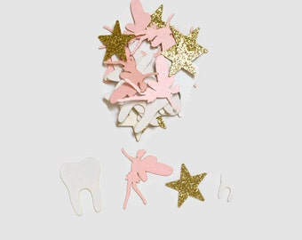 Tooth Fairy Confetti - 100 Pieces - Light Pink, Gold, and White - First Lost Tooth - Tooth Fairy Dust - Tooth Fairy Visit Kit - Laser Cut