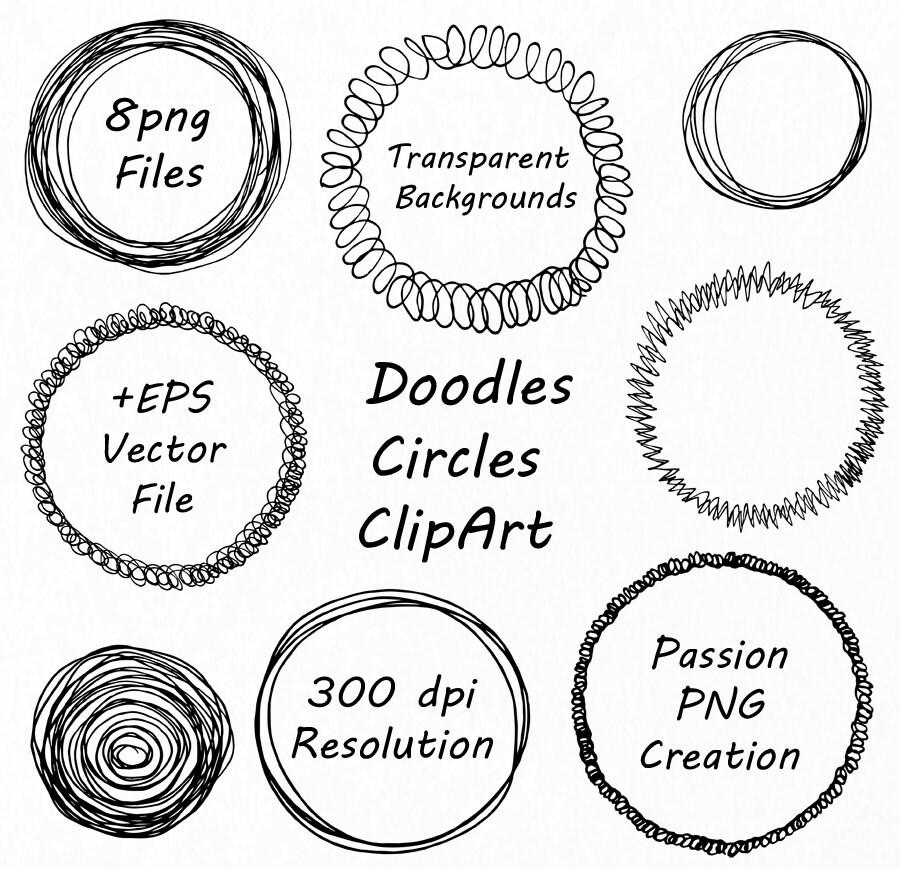 Doodle Kreis Clipart von Hand gezeichneten Kreis Rahmen