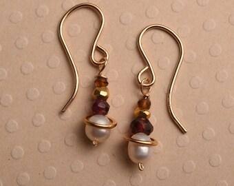 Pearl Garnet Earrings, Healing Gemstone Jewelry, Gemstone Gold Drop Earrings, January Birthstone Earrings