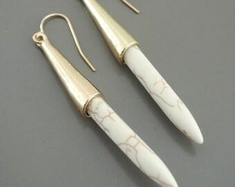 Gold Earrings - White Howlite Earrings - Dagger Earrings - Boho Earrings - White Earrings - handmade jewelry