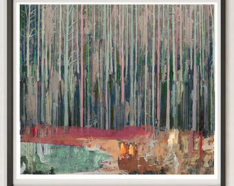 Forest Painting - Collage Art, Mixed Media Art Print, Blue Landscape Painting, Redwood Forest Wall Art