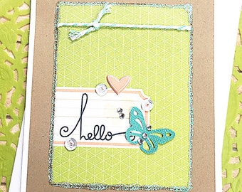 """Hello Butterfly and Sparkle Note Card, Greeting, Get Well, Thinking of You, Friend, Keep in Touch, Heart, Love, Birthday, Caring - 4"""" x 5.5"""""""