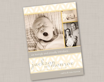 Deco Gold Multi-photo Birth Announcement (GIRL or BOY) print your own