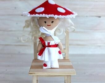 Mini Doll fly-agaric, Rag doll fly-agaric, cloth doll fly-agaric, doll with blond hair, textile doll, pocket doll, gift for girls