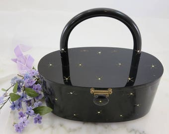 Black Lucite Purse - Rhinestone Accented Stars Clear Footed Rialto New York
