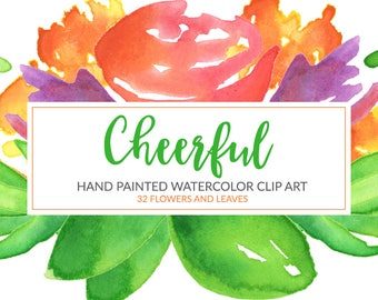 Floral Clipart, Cheerful Floral Watercolor Clip Art