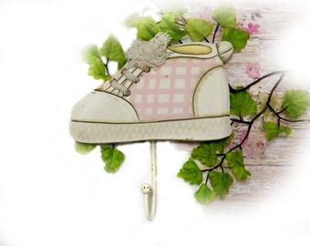 baby wall hook , vintage baby hanger , nursery wall decor , nursery wall storage , wooden hanger , wall support ,  # 30