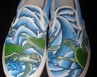 Hand Painted Toms - Turtles