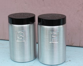 Vintage Salt and Pepper Shaker, Pair, Made in Italy, Brushed, Spun Aluminum