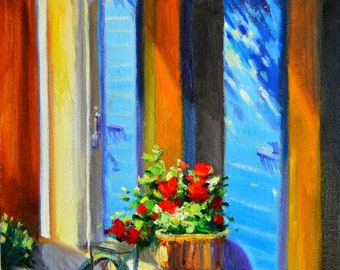 ART Print of  LA BICYCLETTE, bicycle, blue shutters, French street scene, red flowers, wall art, interior decor, blue and yellow