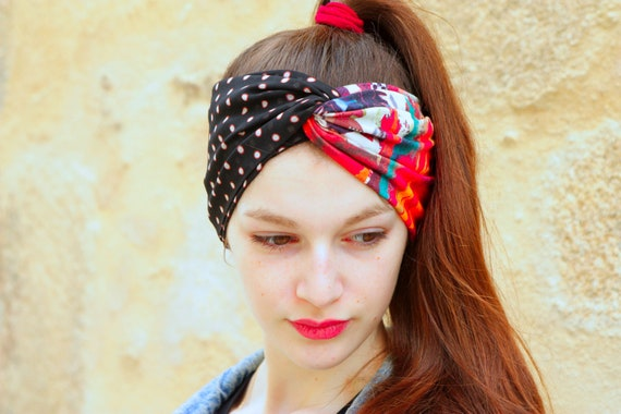 Headband, Turban, two-tone Floral Design in Viscose and Cotton Jersey and polka dot Retro hairstyle