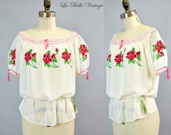 40s Embroidered Peasant Top Vintage Bohemian Blouse Puffy Sleeves Cross Stitch Embroidery