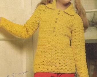 4063S girls jumper crochet vintage pattern PDF instant download