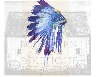 Native American Headdress Blue Sublimation Digital Design Shirt