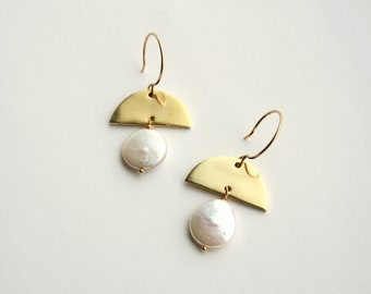 Modern Pearl Earrings, Bohemian Bride, Half Moon, Geometric Earrings