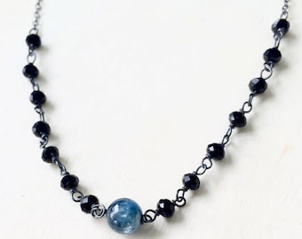 Kyanite Necklace, Blue Kyanite Necklace, Blue Kyanite and black Crystal Necklace, Handmade Necklace
