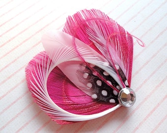 Chloe in Hot Pink Peacock Feather Hair Clip, Pink Feather Fascinator