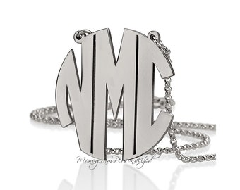 Block Monogram Necklace -  1.2 inch / 3cm and all sizes - 925 Sterling Silver - Personalized Monogram