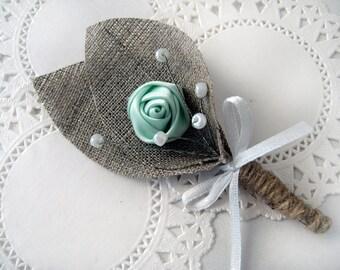 MINT GREEN Flower burlap Boutonniere (buttonhole)
