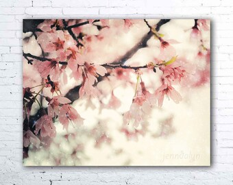 cherry blossom print - pastel pink wall art - baby girl nursery decor