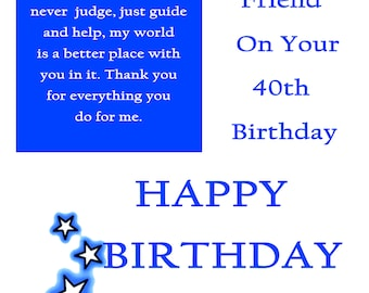 Friend 40 Birthday Card male with removable laminate
