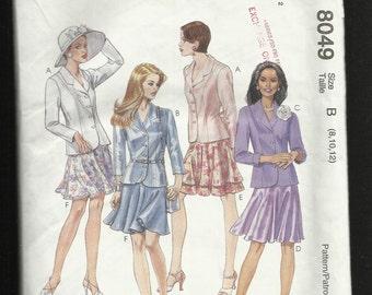 McCalls 8049  Princess Seam Jacket with Notched Collar and Flirty Bias Cut Skirt Size 8-10-12