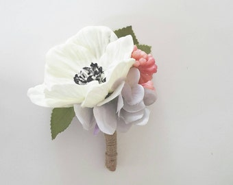 White Anemone silk flower boutonniere | Real touch fake boutonniere | Country style buttonhole | Vintage purple silk hydrangea boutonniere