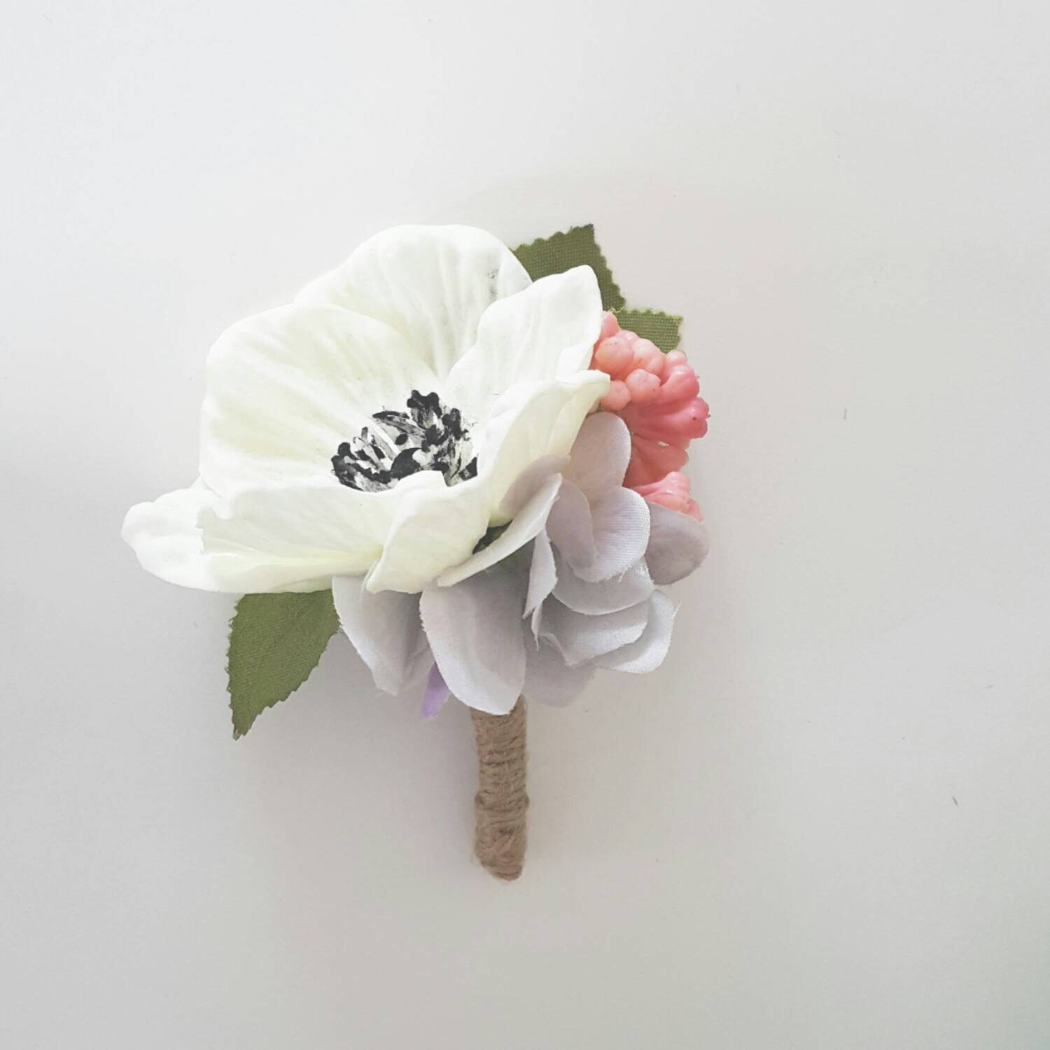 White Anemone Silk Flower Boutonniere Real Touch Fake