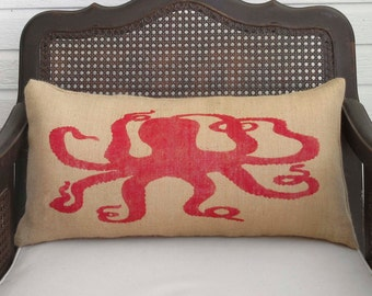 Octopus  - Burlap Pillow - Nautical Decor - Octopus pillow - Nautical Pillow - Octopus Art Pillow - Octopoda