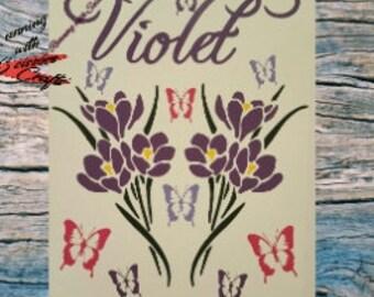 Canvas, custom sign, violets, canvas art, nursery decor, bedroom decor, custom art, wall art, birthday, gifts, custom gifts, anniversary