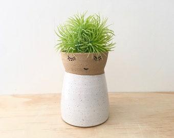Ceramic Vase, Pottery Vase, Wedding Party Gift, Face Vase, Stoneware, Handmade Pottery, Open Minded Vase, Gift for Women, Flower Girl, Bride