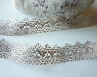 Ribbon 25 mm Greige beige cotton lace - very fine cotton - for sale by the yard