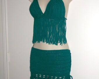 SKIRT and HALTER SET - (2in1) Crochet Fringe Halter Top, Music Festival, Hippie Chic, Bohemian, Summer Set